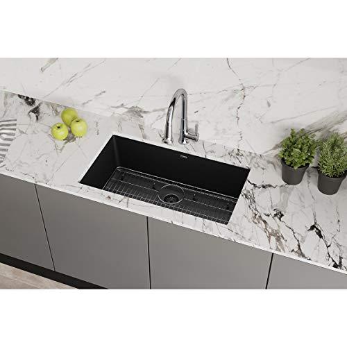 "Elkay Quartz Classic ELGRU13322BK0FC 33"" Single Bowl Undermount Sink Kit with Faucet, Black"