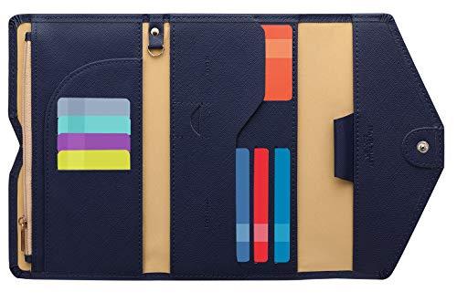 Zoppen Ver. 4 Reiseetui, RFID-blockierend, Ausweis, Reisepass, dreifach faltbar, Dokumenthalter, #2 Navy Blue (Blau) - TG001