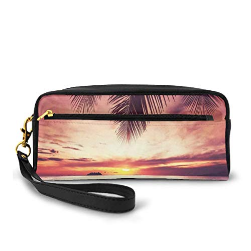 Pencil Case Pen Bag Pouch Stationary,Tropical Beach Under Shadow at Sunset Ocean Waves Serenity in Natural Paradise,Small Makeup Bag Coin Purse