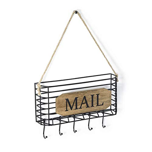 SRIWATANA Mail Key Holder, Mail Organizer Wall Mount, Small Size Hanging Mail Letter Basket with 5 Hooks, Carbonized Black