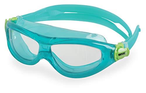 SEAC Matt, Occhialini da Nuoto a Mascherina, Anti-Urto, Ultra Flessibili e Morbidi Unisex Bambini, Acquamarina Lt, 3-6 anni
