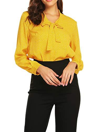 ACEVOG  Damen Elegant Business Chiffonbluse Schluppenshirt T-Shirt mit Schleife V-Ausschnitt Bluse Hemd Oberteil S,  Gelb