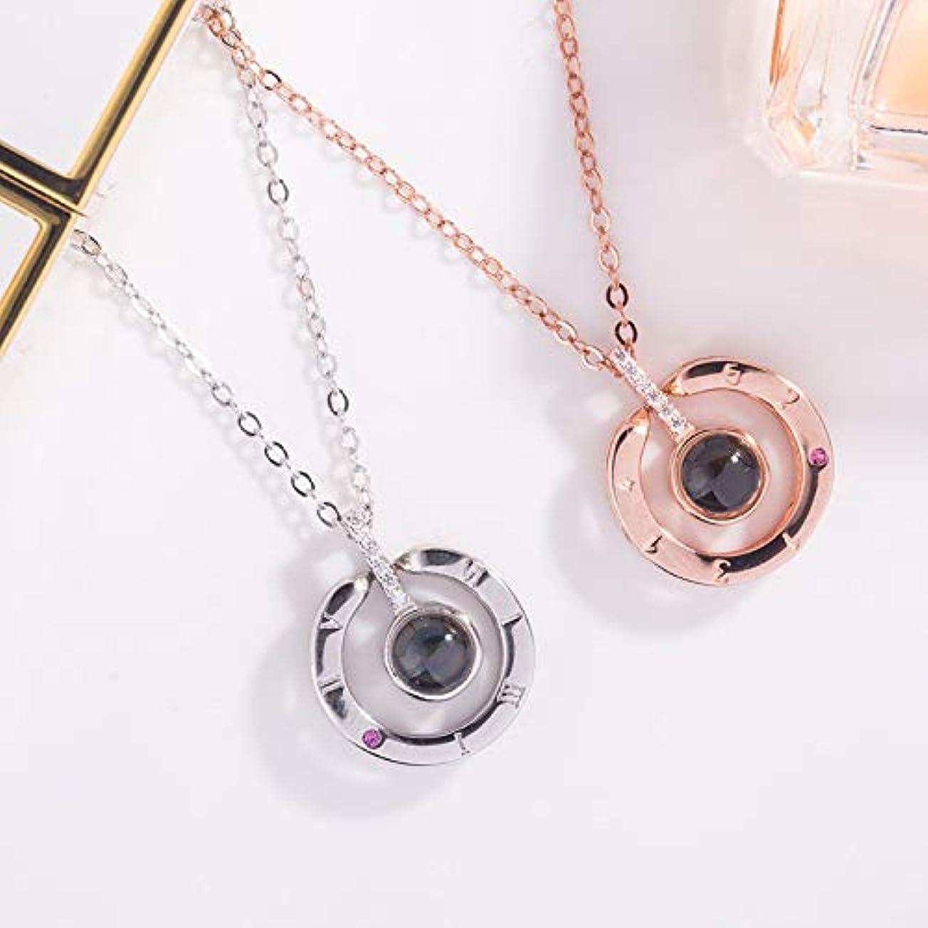 ファイアルバンドポンドHVTKLN 925純銀製のネックレス私はあなたを愛して100百の言語のペンダントの宝石愛好家のバレンタインデー HVTKLN (Color : White Golden, Size : 21X50CM)