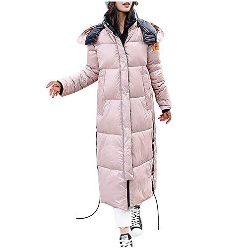 Aujelly Damen Winterjacke Warme Dicken Plüsch Gesteppt Gepolstert Puffer Einfarbig Lange Knielang Kapuzen Daunenjacke Trenchcoat Frauen Wintermantel Parka B604 (L, Rosa)