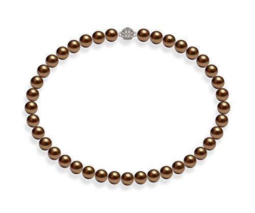 Schmuckwilli Südsee Tahiti Damen Muschelkernperlen Perlenkette Braun Magnetverschluß echte Muschel 45cm dmk1008-45 (10mm)