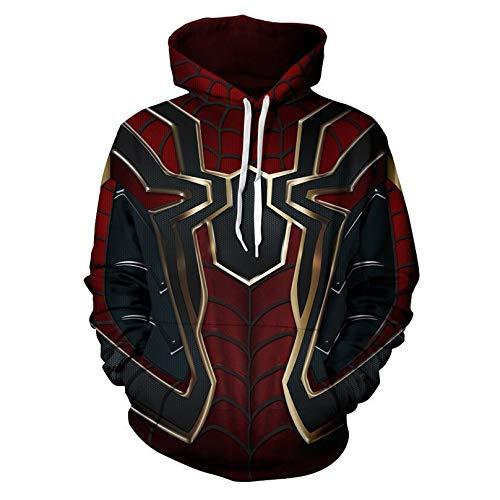 MODRYER Iron Spider-man Pullover Avengers 3D Printed Hoodie Children Teen Sweatshirt Hooded Drawstring Jumpers Long Sleeve,4XL