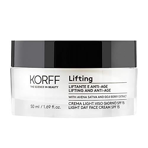 Korff Lifting Crema texture Leggera Viso Giorno, Effetto lifting con Acido Ialuronico e Bacche di Goji per Pelli Miste, 50ml