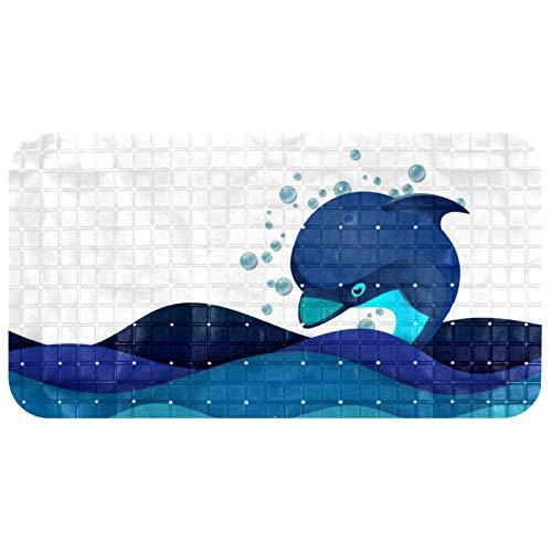 Alfombrilla antideslizante para bañera de bebé, antideslizante, con ventosas, diseño de delfín, olas del océano, animales de buceo, bañeras, masaje, ducha