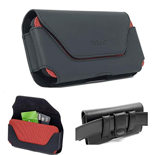 AISCELL Belt Clip Carrying Pouch XXL Size Black Red Leather Case Holster for iPhone 12 Pro Max,11 Pro Max, Xs Max, XR, 8 Plus, 7 Plus, 6S Plus Has Hybrid Protective Thick Cover,Battery Case 05