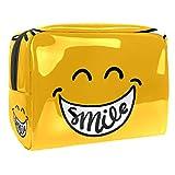Bonita bolsa de maquillaje de sonrisa, pequeña bolsa de cosméticos de viaje, bolsa de maquillaje impermeable de PVC para mujeres y niñas organizando cosméticos