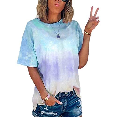 BOLANQ Vêtements - Camiseta de manga corta con cuello redondo para mujer (talla S-5XL) Azul azul celeste S
