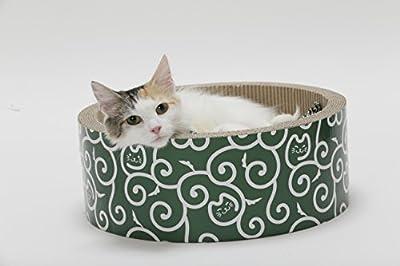 Cat1st Round Scratcher Cuddler Bed (Green Ninja, Medium)