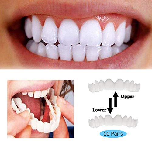 ALASON 10 Paires Fausses Dents Dentier Sourire Parfait Haut Et Bas Dentier Esthetique Amovible Instant Smile Comfort Kit Faux Dent Accolades De Simulation