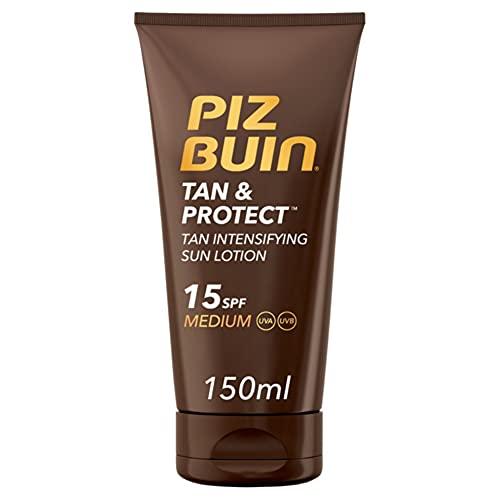 Piz Buin, Protección Solar en Crema, Tan & Protect Intensificadora del Bronceado SPF 15 Protección...