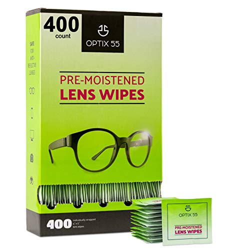Eyeglass Cleaner Lens Wipes  400 PreMoistened Individual Wrapped Eye Glasses Cleaning Wipes | Glasses Cleaner Safely Cleans Glasses Sunglasses Phone Screen Electronics amp Camera Lense| StreakFree