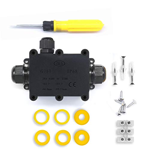 Cajas de Empalmes,IP68 Caja de Conexiones Impermeable Eléctricas para 4 mm-14 mm Diámetro del Cable,Conector Exterior Cable (1 Pack)