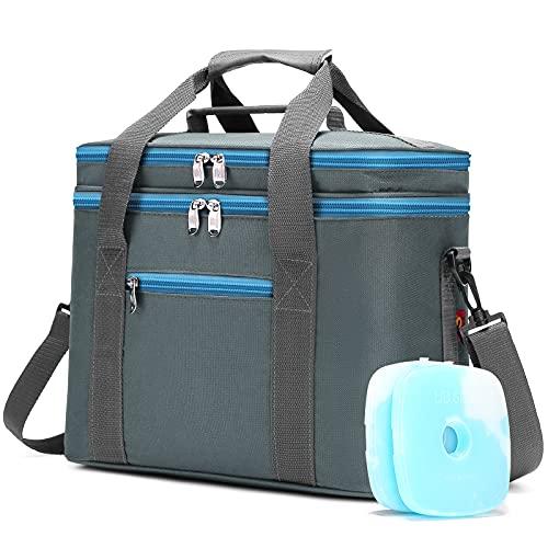 JANSBEN 18L Kühltasche mit 2 Kühlakkus Thermotasch Picknicktasche Isoliertasche Lunchtasche Kühlbox Mittagessen für Lebensmitteltransport Outdoor Reisen Camping (Grau)