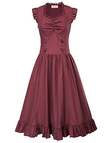 Belle Poque Korsagenkleid Damen Burgundy Kleid lang Cosplay Kleid XL BP364-3
