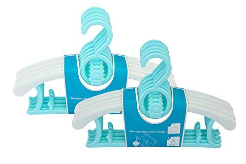 NewSeed ベビーハンガー 2020アップグレード 子供ハンガー ハンガー 10本組 滑り止め 伸縮式 厚手 スライド 厚く加工 キッズハンガー 洗濯物干し 衣類ハンガー 型崩れ防止 重ねる収納 多機能 乾湿両用 洗濯ハンガー (ミントグリーン)