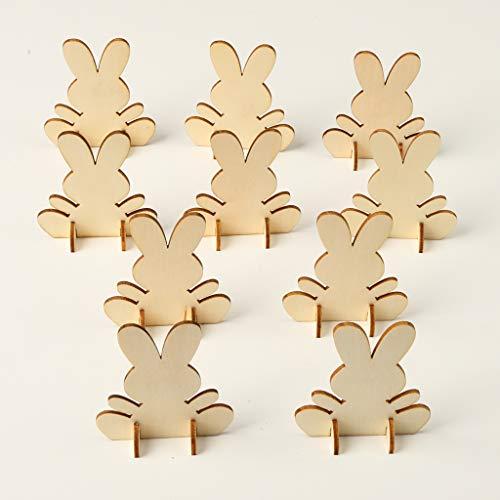 TShopm Holz-Ornamente zum Aufhängen – 3D Osterhasen Stücke Oster-Anhänger DIY Home Party Dekor Verzierungen