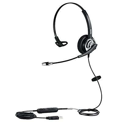 USB Headset with Noise Cancelling Microphone for Office Call Center Skype Teams Business Softphone Conference, Mono PC Headphone w/Mic Mute for Voice Recognition Speech Dictation School Education from Xiamen Mairdi Electronic Technology Co Ltd