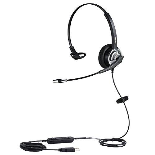 USB Headset mit Noise Cancelling Mikrofon, Mono Onear PC Kopfhörer für Computer Laptop Homeoffice Call Center Business Skype Teams Voip Softphone Chat, Pro Mic für Spracherkennung Dragon Nuance