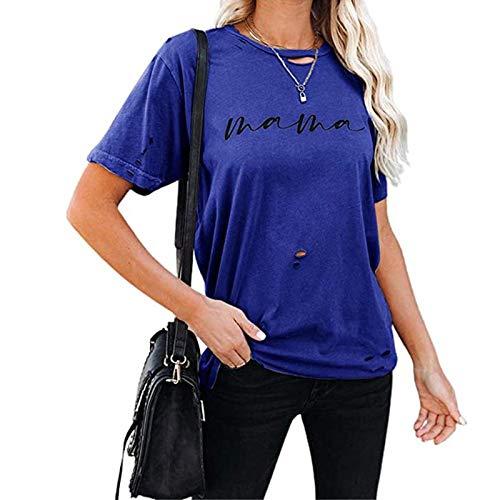 SLYZ 2021 Camiseta De Mujer Casual con Cuello Redondo Y Estampado De Letras con Agujeros Rasgados De Verano para Mujer