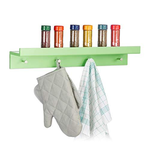 Relaxdays haaklijst garderobe, garderobe lijst met 4 haken & plank, wandlijst, MDF, HBT: 10x60x11,5cm, groen