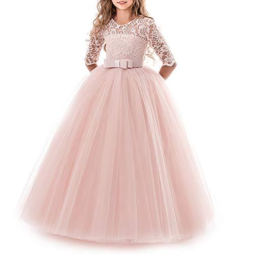 TTYAOVO Mädchen Festzug Ballkleider Kinder Spitze Gestickte Prinzessin Hochzeit Kleid Größe (130) 6-7 Jahre Rosa 1