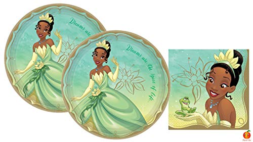 Princess and the Frog Tiana Party Supplies Pack with Plates and Napkins for 16 Guests by Amscan