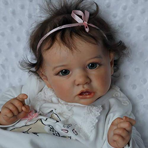 22Inch (58Cm) Realistic Reborn Baby Dolls, Full Silicone Lifelike Nurturing Dolls Real Touch Blue Eyes Newborn Lightweight Toddler Gifts Toys for Kids