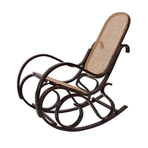 Sedia a dondolo in legno, con sedile in rattan