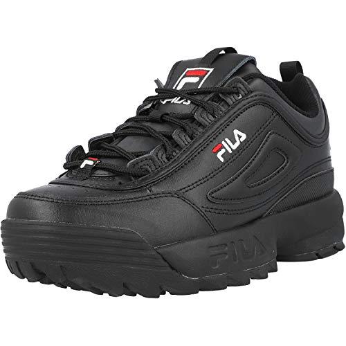 Fila Disruptor II Premium Black/White/Fila Red Trainers-UK 6.5 / EU 40
