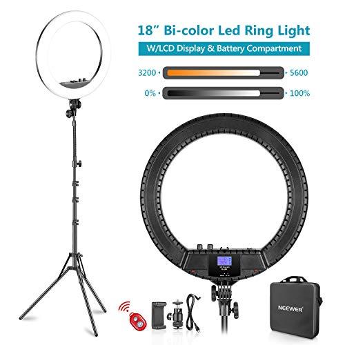 Neewer 18 Zoll zweifarbige LED Ringlicht mit LCD Bildschirm und Batteriehalter, max. 61,8 Zoll Ständer und eine Tragetasche für Live Stream YouTube Videoaufnahmen enthalten