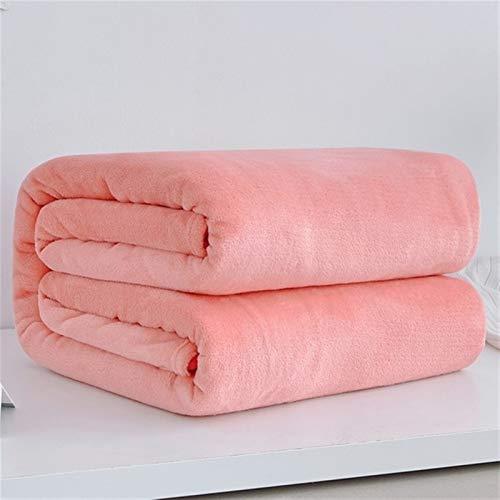 N\A Mantas para Sofa, Cubierta de sofá Azul Rosado Mantas de Tela Escocesa 230GSM Suave cálido Coral Fleece Flanel Mantas for Las Camas Faux Fur Mink Throw Solid Manta con Mangas