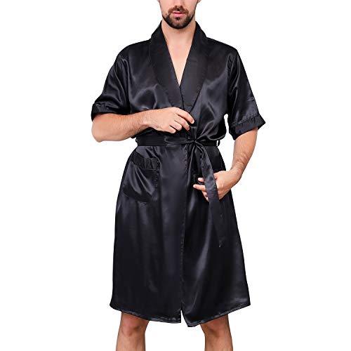 Lu\'s Chic Herren Satin Kimono Bademantel Seide kurze Ärmel Sommer Bademantel Taschen Nachthemd Bademantel - Schwarz - Large