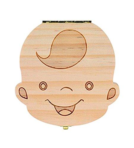 B# Chica Espa/ñol Cajas de dientes Organizador cajas de almacenaje de madera de los dientes de leche del beb/é Malloom Ingl/és /& Espa/ñol