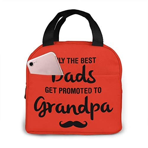"""antoipyns The Best Dads Get Promoted to Grandpa Portable Insulated Lunch Bag,Lunch Cooler Tote Bag for Work School Travel Lunch Box with Front Pocket Ice Pack (Size: 8.5"""" x 8.0"""" x 5.0"""")"""