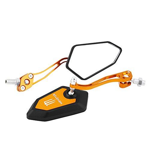 Qiilu 2 * Espejos retrovisores de la motocicleta universal Espejos laterales de la parte posterior(amarillo)