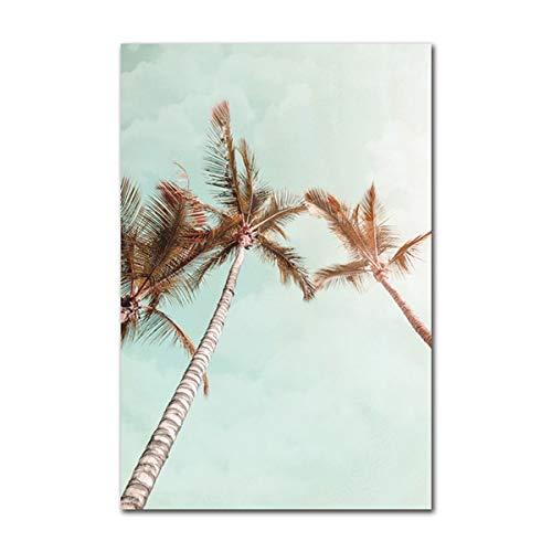 hetingyue Frameloze Scandinavische stijl poster creatieve strand landschap plant wanddecoratie canvas kunst schilderij modern interieur woonkamer afbeelding
