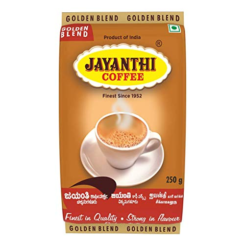 JAYANTHI Golden Blend, Coffee Contains 15% Chicory, fine or Nice Grind, 250g x 4