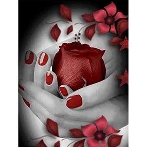 GHJGHJ Diamante Pintura Rosa Flores Imagen Bordado Punto de Cruz Mosaico Taladro Completo de la decoración de la casa Pegatinas de Pared Regalo Hecho a Mano (Color : 263, Size : Round Drill 60X80cm)