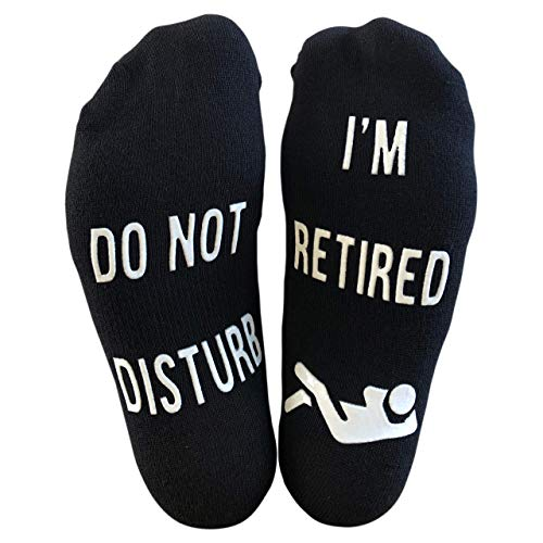 'Do Not Disturb, I'm Retired' Funny Full Length Lounge Socks - Great Gift For Retirees / Colleagues / Office Leavers