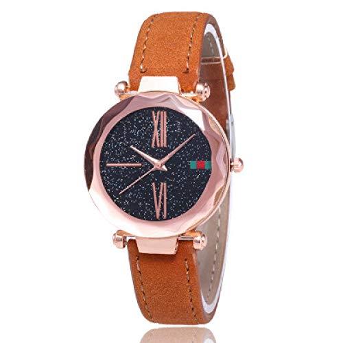 Powzz ornament Reloj estrellado de las señoras del reloj de la tendencia de la moda estudiante coreano femenino reloj-naranja
