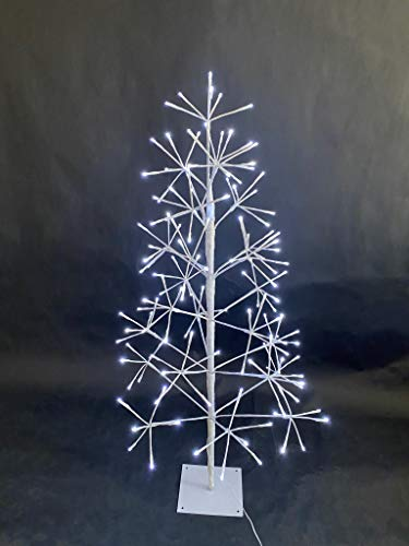 SHATCHI Pre-Lit LEDs Christmas Twig Cool White Lights Birch Xmas Tree Holiday Home Centerpiece Decorations – 4ft, 5ft, 6ft, Metal