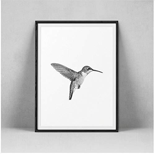LMAGGG Lienzo minimalista en blanco y negro con estampado de pájaros, fotografía, póster de estilo escandinavo, 50x70 cm sin marco
