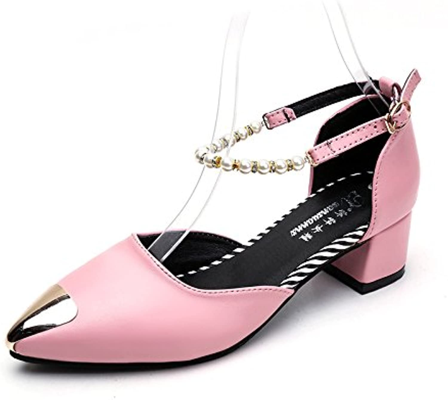 WYMBS Autumn and Winter Gifts Women's shoes Women's Heel Beaded Buckle Single shoes