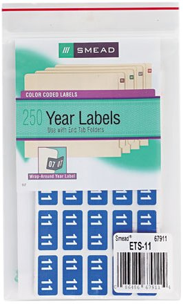 Color Coded Label, Year 2011 (250 Per Pack)