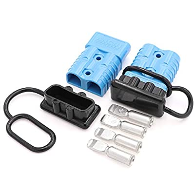 Ruikarhop Battery Cable Quick Connector1/0 Gauge Blue Quick Connect Battery Modular Power Connectors for Winch Auto Car Trailer Driver Electrical Devices