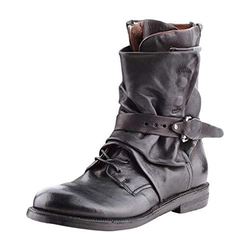 Mxssi Herren PU-Lederstiefel Mode Einstellbar Schnalle Stiefeletten Reißverschluss Kurze Stiefel Vintage Ritterstiefel Sanft Kunstleder Stiefel Warme Schneeschuhe Freizeitstiefel